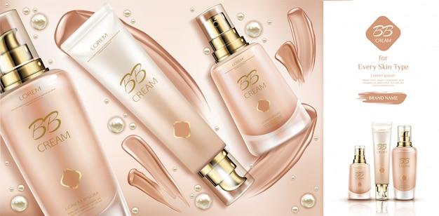 Bb crema cosmetica e sbavature per fondotinta. Vettore gratuito