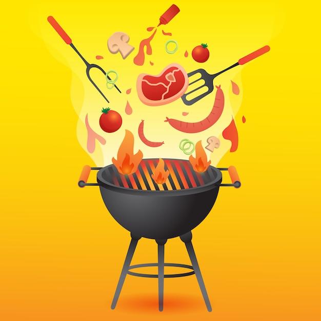 Bbq grill party con illustrazione stile piatto di cibo. Vettore Premium