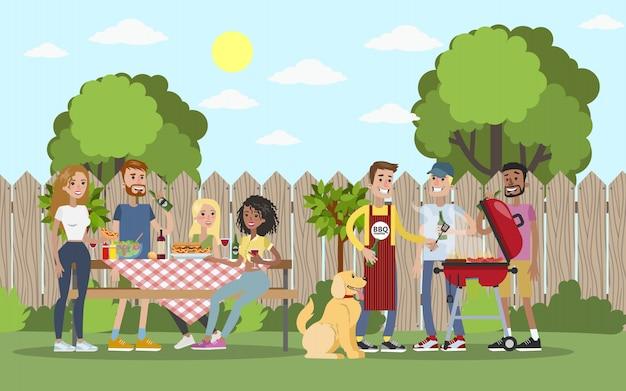 Bbq party all'aperto con gli amici in giardino. Vettore Premium