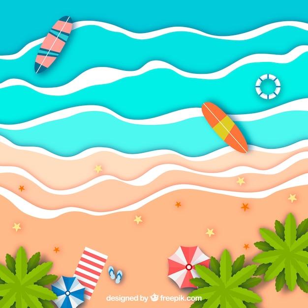 Beach dall'alto in stile cartaceo Vettore gratuito