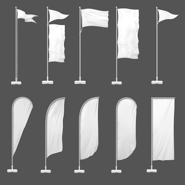 Beach flag. l'insegna all'aperto sull'asta della bandiera, sta le bandiere in bianco e svuota l'illustrazione del modello delle insegne fronte mare di pubblicità Vettore Premium