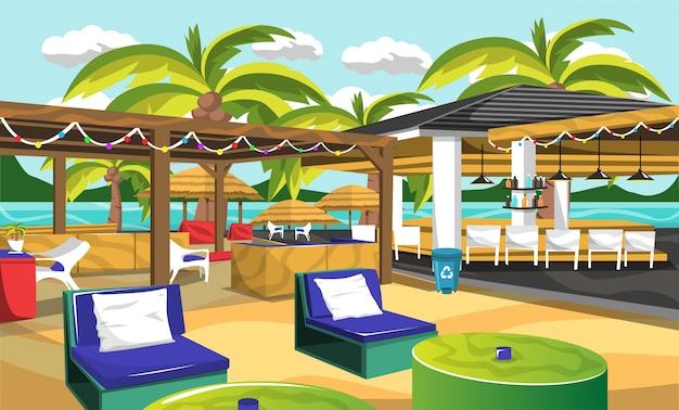 Beach outdoor cafe stile hawaiano Vettore Premium