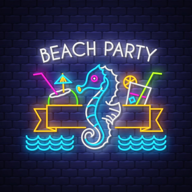 Beach party. lettere al neon vacanze estive Vettore Premium
