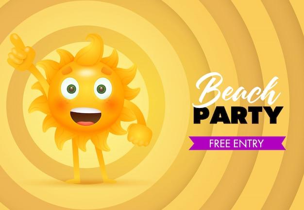 Beach party, lettering iscrizione gratuita con personaggio dei cartoni animati di sole Vettore gratuito