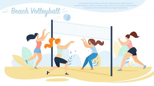 Beach volley, competizione squadre sportive, Vettore Premium
