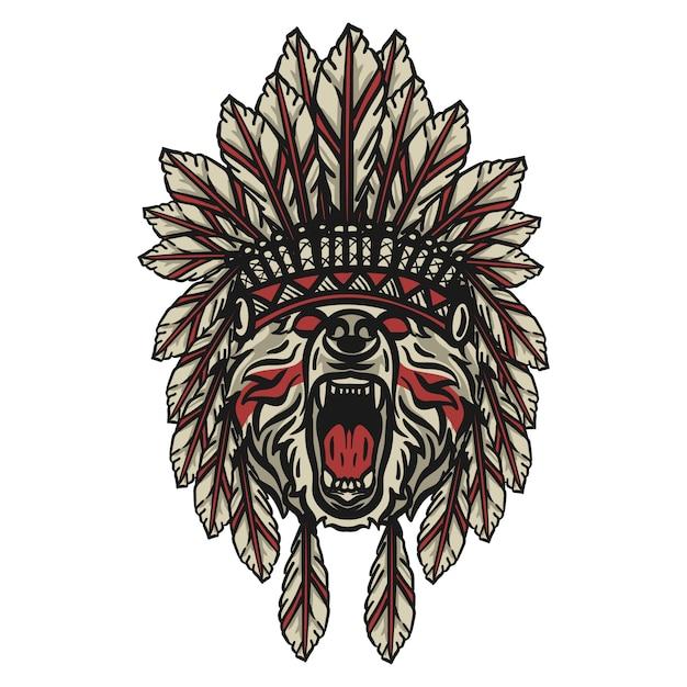 Bear apache testa Vettore Premium
