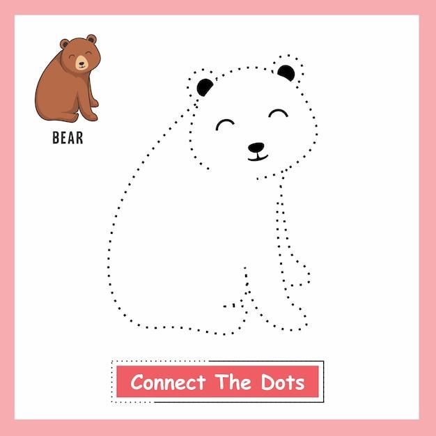 Bear connect the dots Vettore Premium