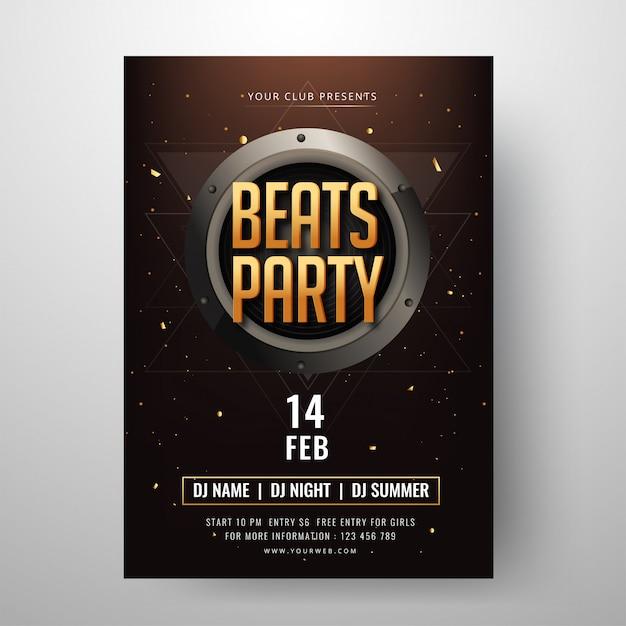 Beats party design biglietto d'invito con tempo, data e luogo det Vettore Premium