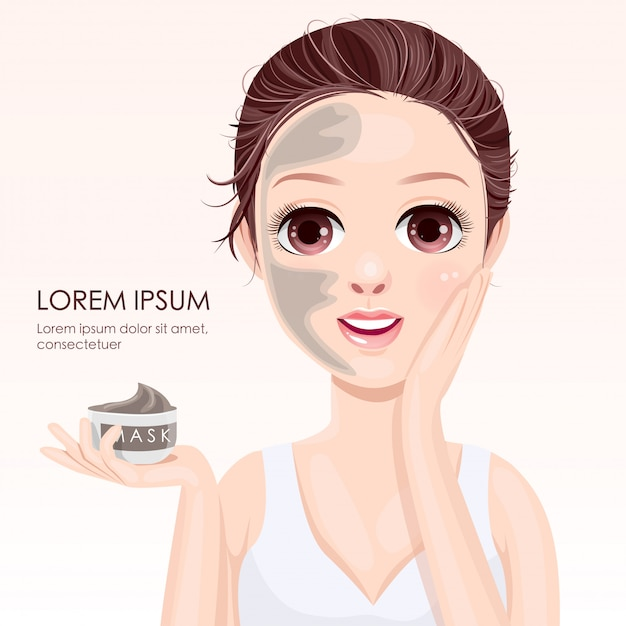 Beauty face with clay mask Vettore Premium