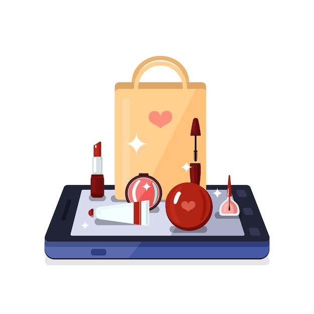 Beauty shop online composition Vettore gratuito