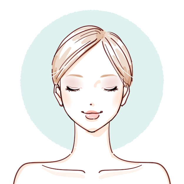 Beauty woman_after make up closed eyes Vettore Premium