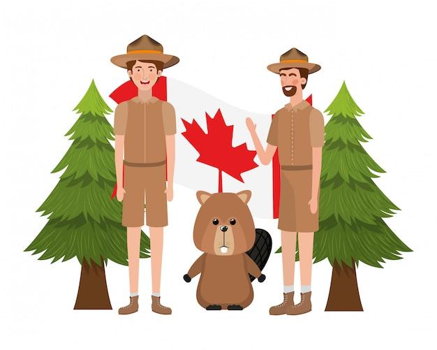 Beaver animale e ranger del canada Vettore gratuito