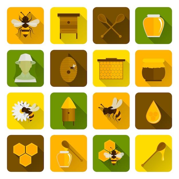 Bee honey icons flat Vettore Premium