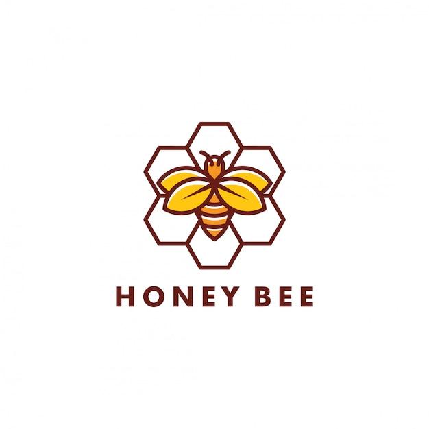 Bee logo design Vettore Premium