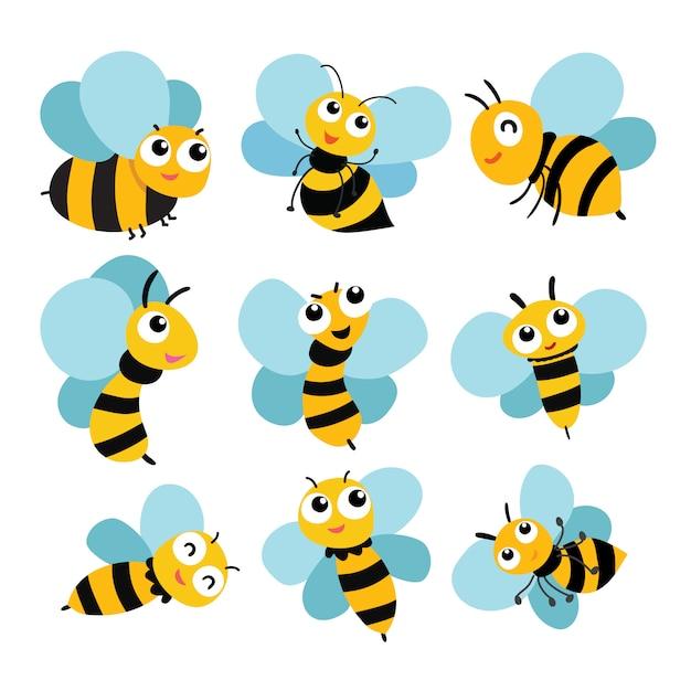 Bee vector collection design Vettore Premium