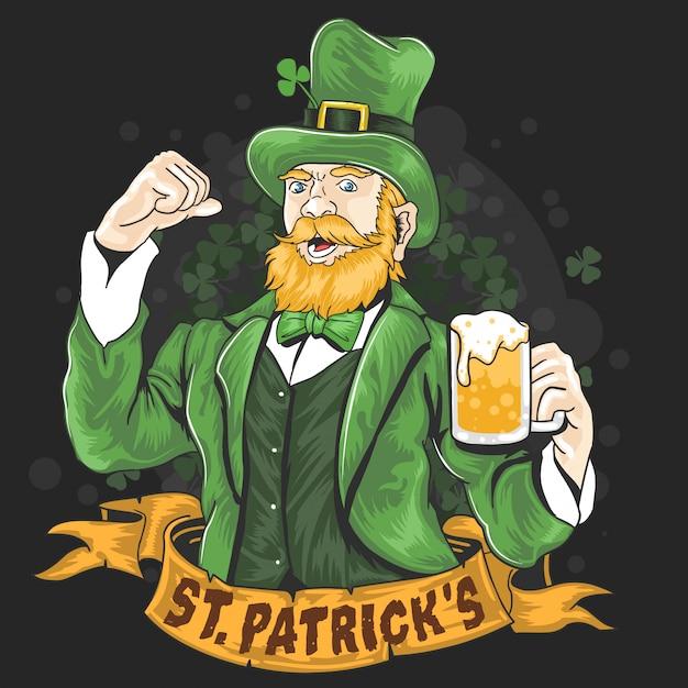Beer party di st.patrick's top 1 Vettore Premium