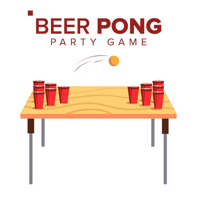 Beer pong game Vettore Premium