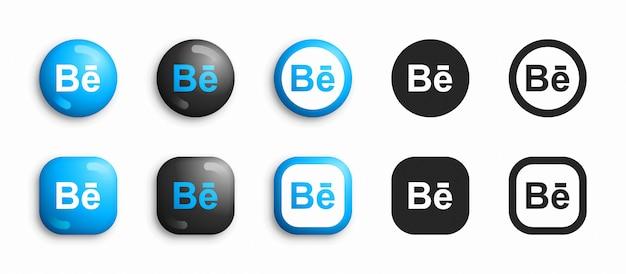 Behance 3d moderno e set di icone piatte Vettore Premium