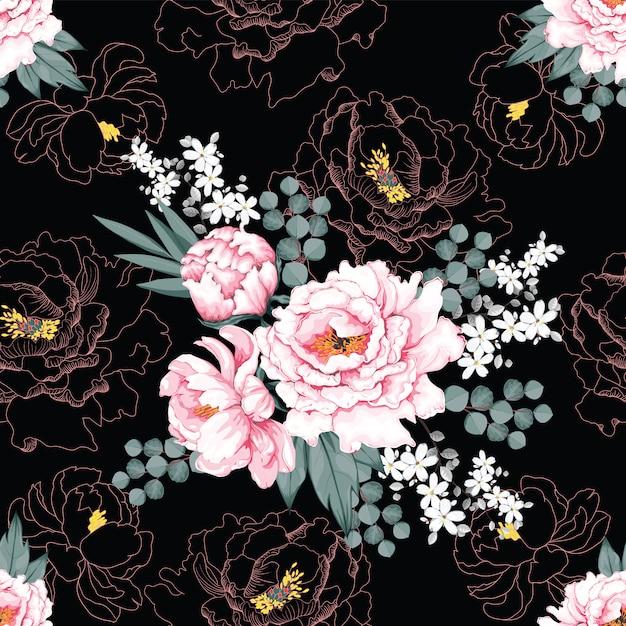 Bei fiori d'annata rosa della peonia del modello senza cuciture Vettore Premium