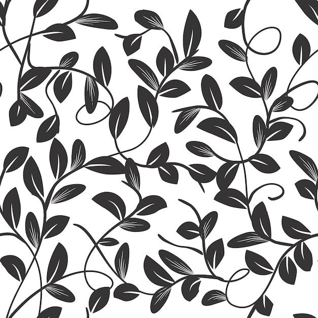 Bei rami e foglie del modello senza cuciture in bianco e nero Vettore Premium