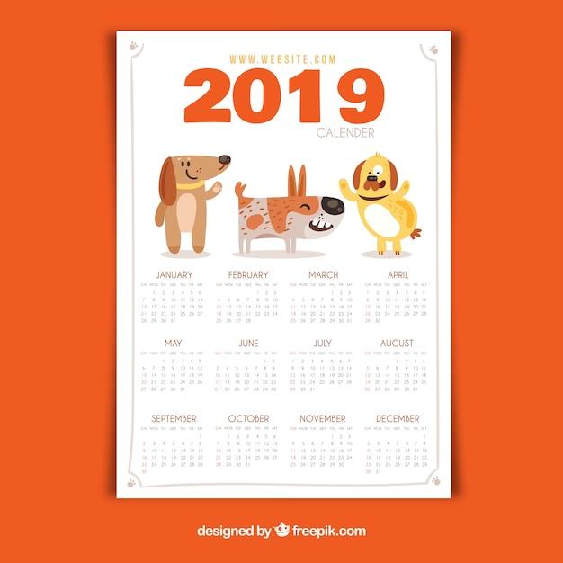 Bel calendario 2019 con design piatto Vettore gratuito