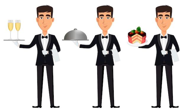 Bel cameriere, set di tre pose Vettore Premium
