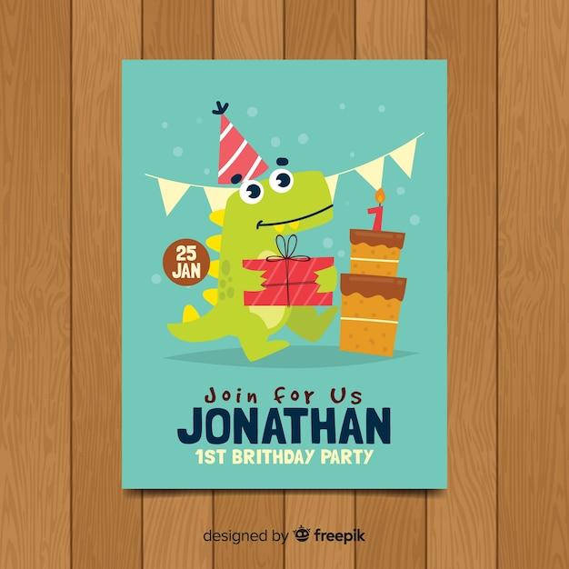 Bel modello di invito per il primo compleanno Vettore gratuito