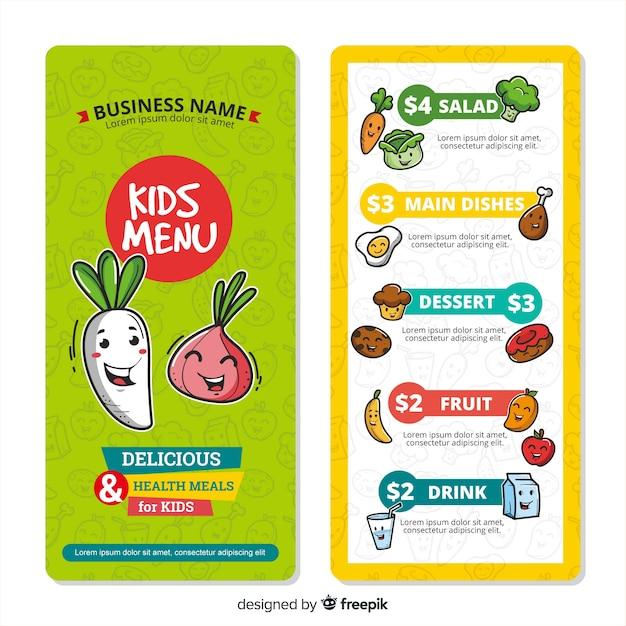 Bel modello di menu per bambini Vettore gratuito