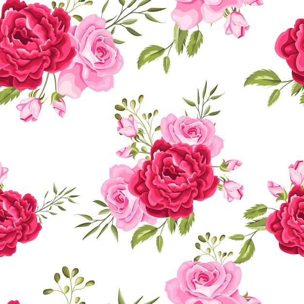 Bel modello senza cuciture fiori e foglie Vettore Premium