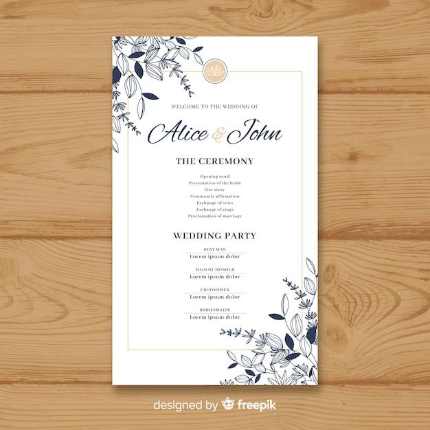 Bel programma di nozze con uno stile elegante Vettore gratuito
