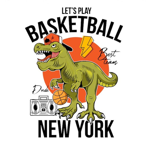 Bel tizio t-rex tyrannosaurus rex dinosauro dino con palla giocando a basket. illustrazione del personaggio dei cartoni animati fondo bianco isolato per il manifesto dell'autoadesivo dei vestiti della maglietta di progettazione della stampa. Vettore Premium