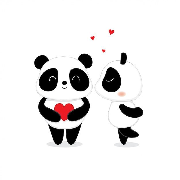 Bell'orso carino panda che si bacia. Vettore Premium