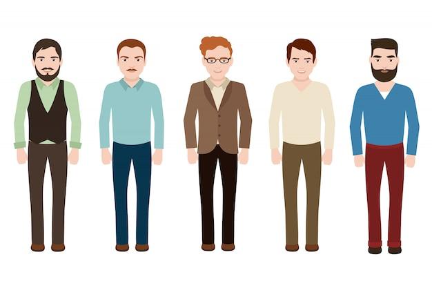 Bell'uomo che indossa abiti casual europei. giovane uomo d'affari in abiti di moda. personaggi maschili vettoriali isolati Vettore Premium