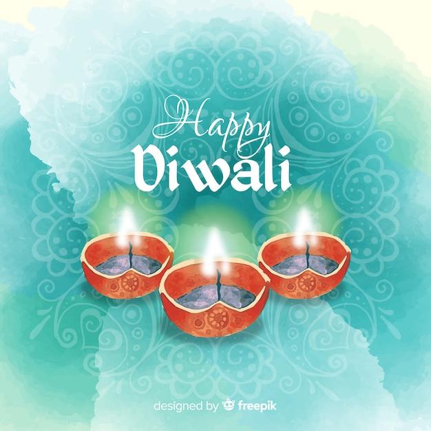 Bella acquerello diwali sfondo Vettore gratuito