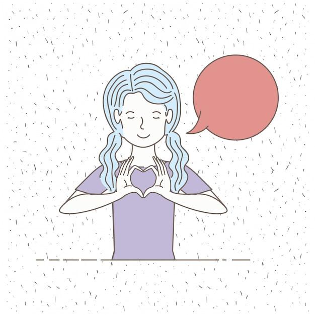 Bella bambina che parla con il fumetto Vettore Premium