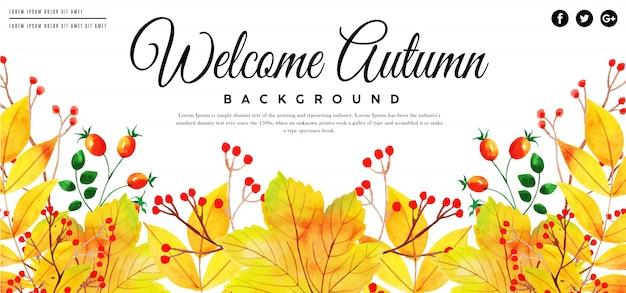 Bella bandiera delle foglie di autunno dell'acquerello Vettore Premium