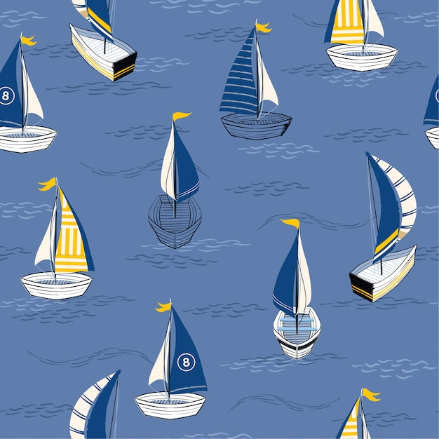 Bella barca disegnata a mano sull'oceano Vettore Premium