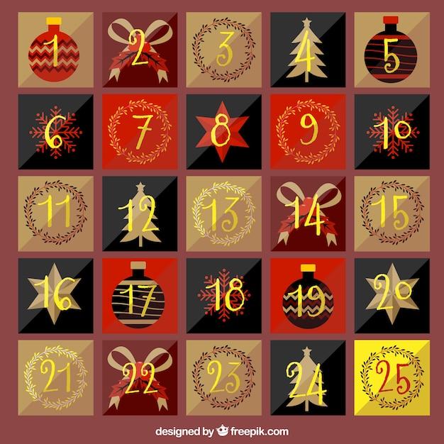 Numeri Per Calendario Avvento.Bella Calendario Dell Avvento D Epoca Con Numeri D Oro