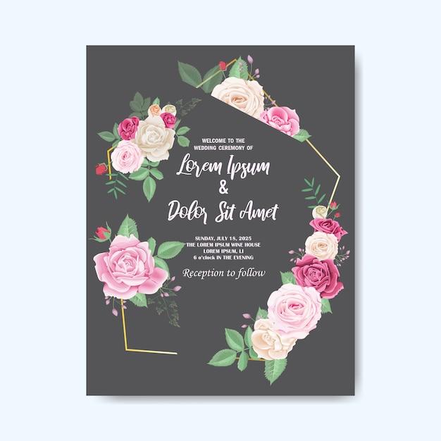 Bella carta di invito matrimonio floreale Vettore Premium