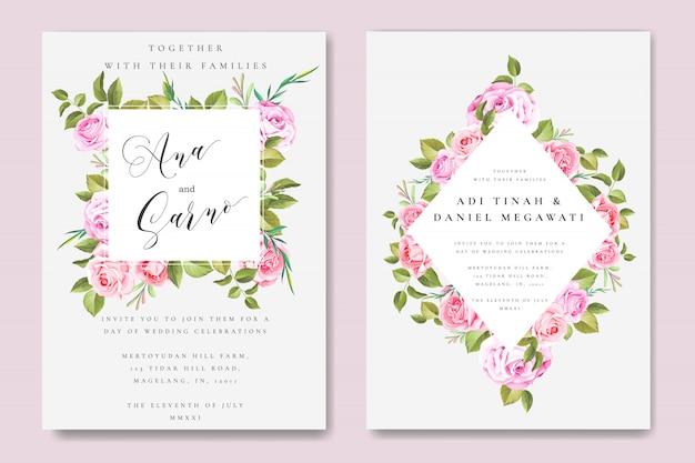 Bella carta di matrimonio e invito con cornice floreale e foglie Vettore Premium