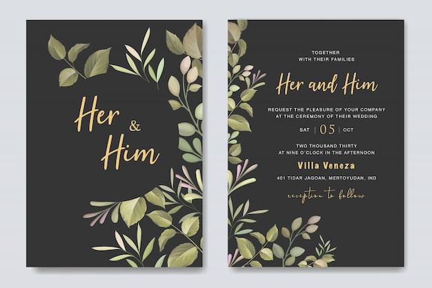 Bella carta di matrimonio floreale con modello di cornice di rose Vettore Premium