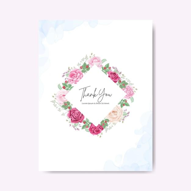 Bella carta floreale e modelli dell'invito di nozze Vettore Premium