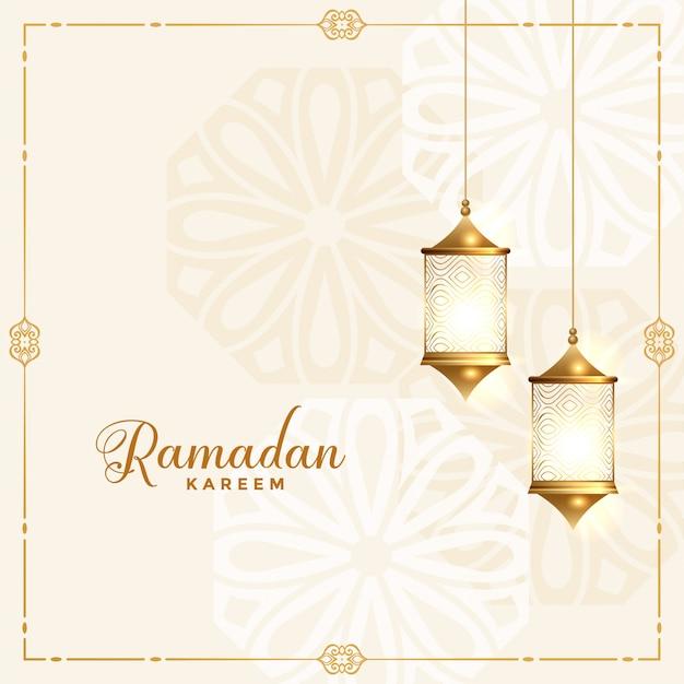 Bella carta tradizionale festival ramadan kareem Vettore gratuito