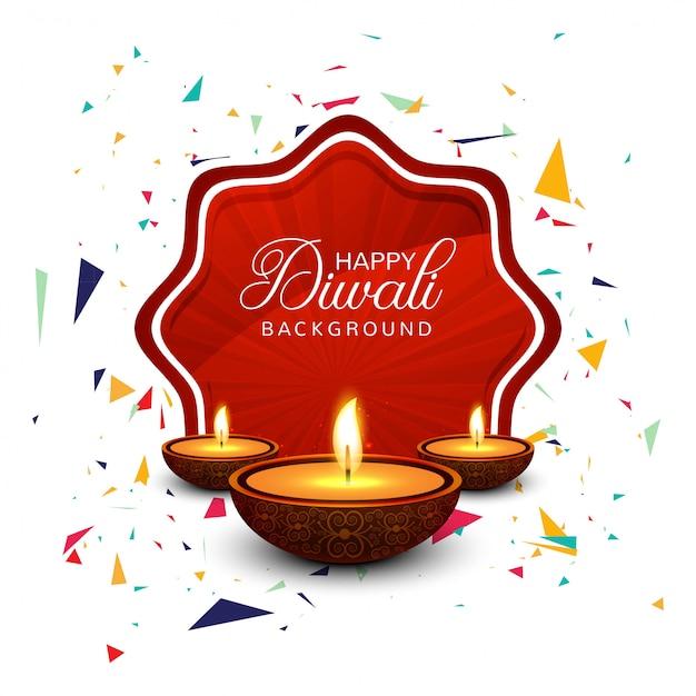 Bella cartolina d'auguri per felice diwali festival Vettore gratuito