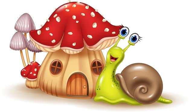 Bella casa dei funghi e cartoon lumaca felice Vettore Premium