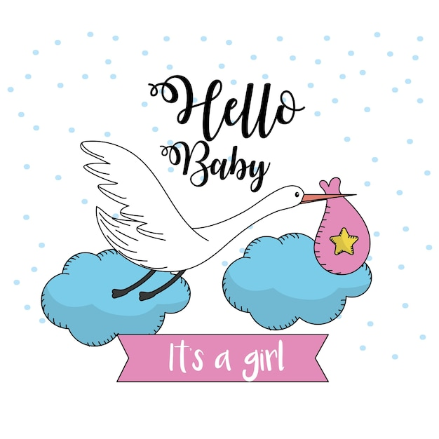 Bella cicogna con borsa per baby shower card Vettore Premium