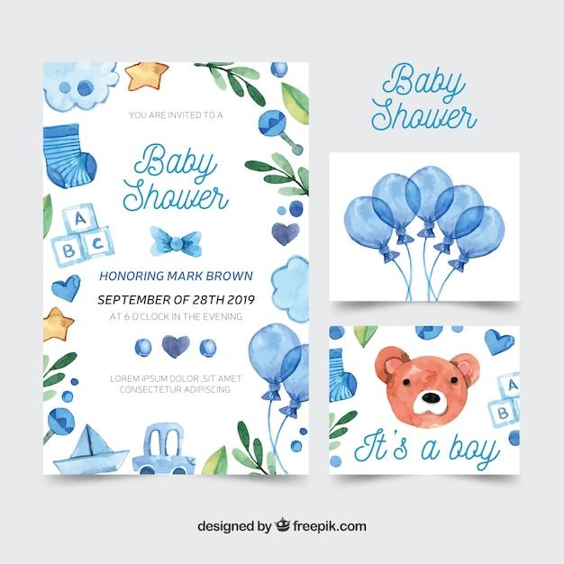 Bella collezione di acquerelli baby shower Vettore gratuito