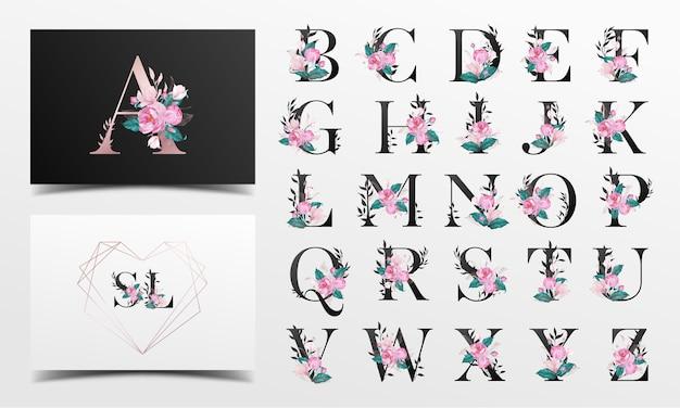 Bella collezione di alfabeto decorata con stile floreale dell'acquerello Vettore gratuito