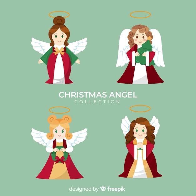 Bella collezione di angeli di natale Vettore gratuito