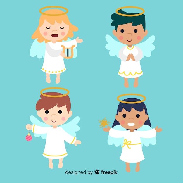 Bella collezione di angeli natalizi Vettore gratuito